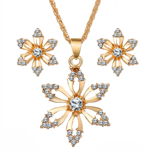 Necklace Earrings Diamante Floral Jewelry Sets (Wedding)
