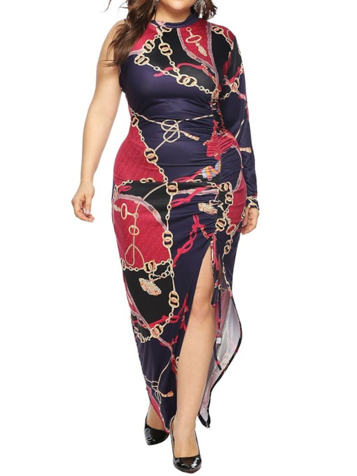Plus Size Pleated Round Neck Asymmetrical Women's Maxi Dress