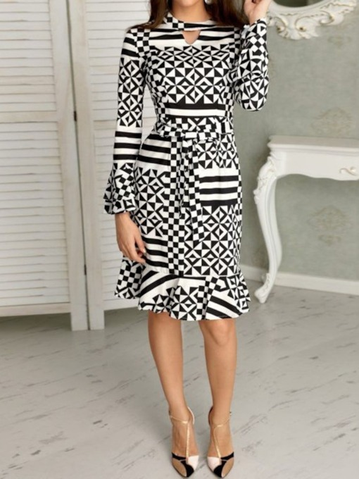 Geometric Print Round Neck Spring Women's Long Sleeve Dress