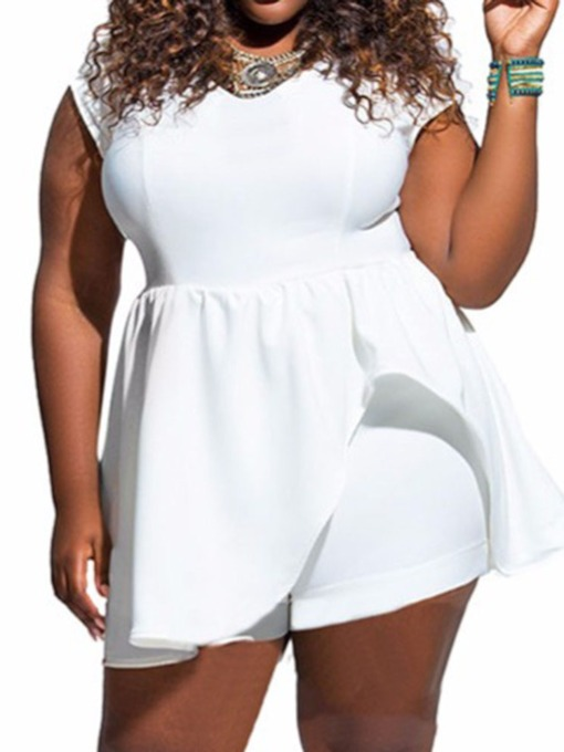 Plus Size Office Lady Shorts Plain Loose Women's Romper