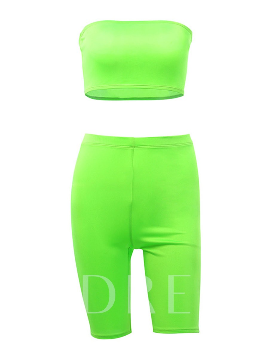 Fashion Solid Tube Top Workout Shorts Set