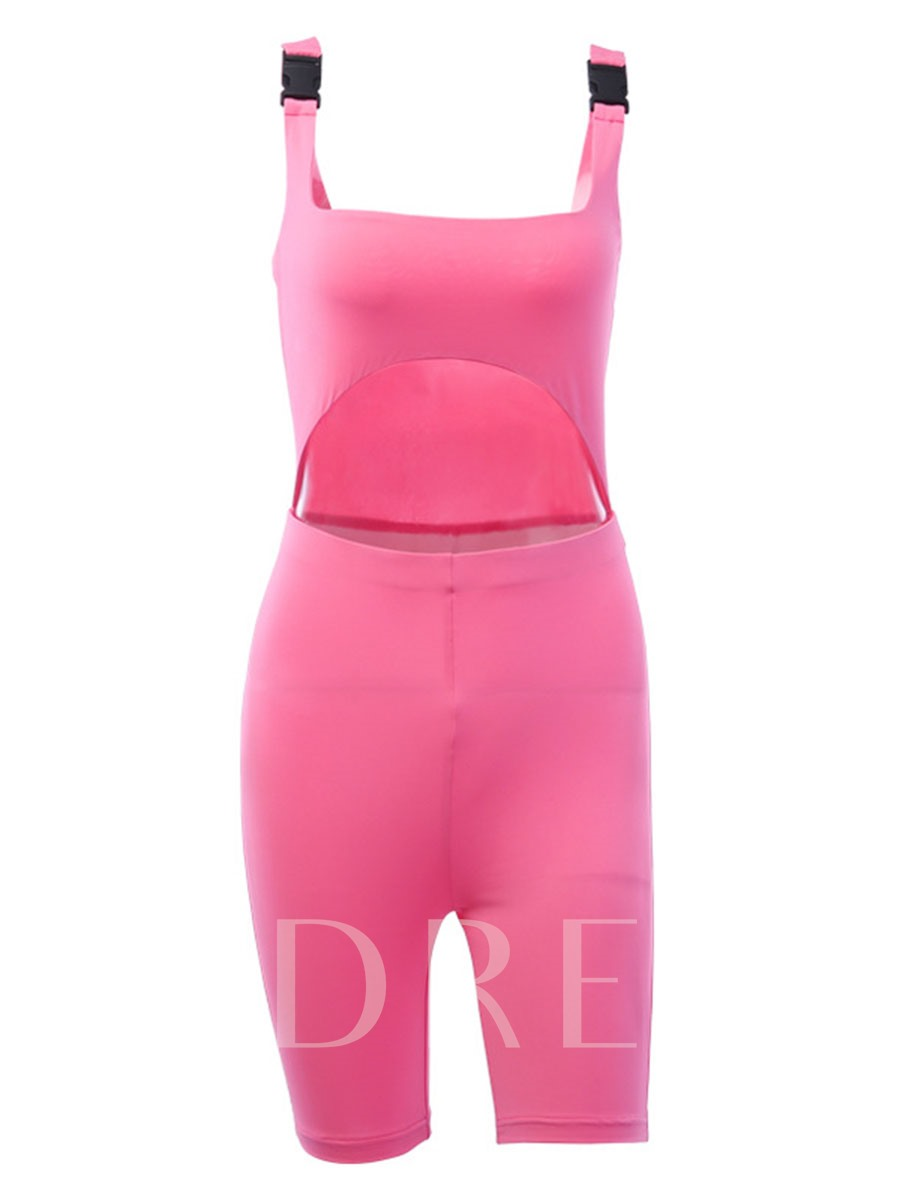 Women's Solid Casual Tight Bag Buckle Sports Jumpsuit