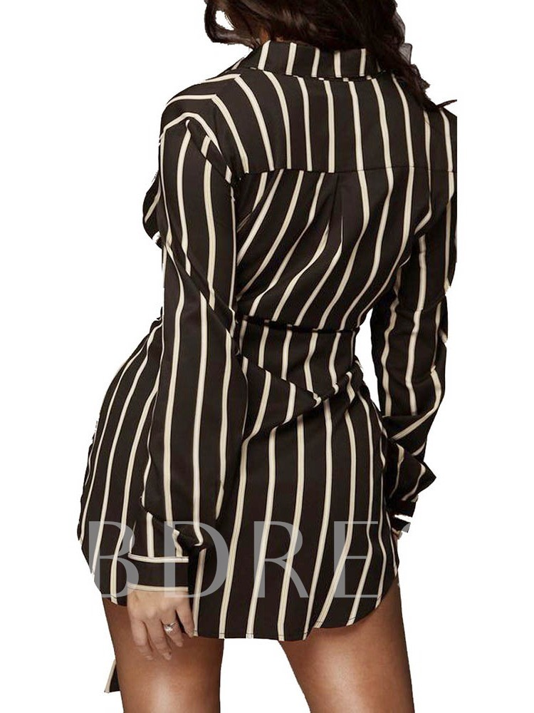 Lace-Up Lapel Single-Breasted Women's Long Sleeve Dress