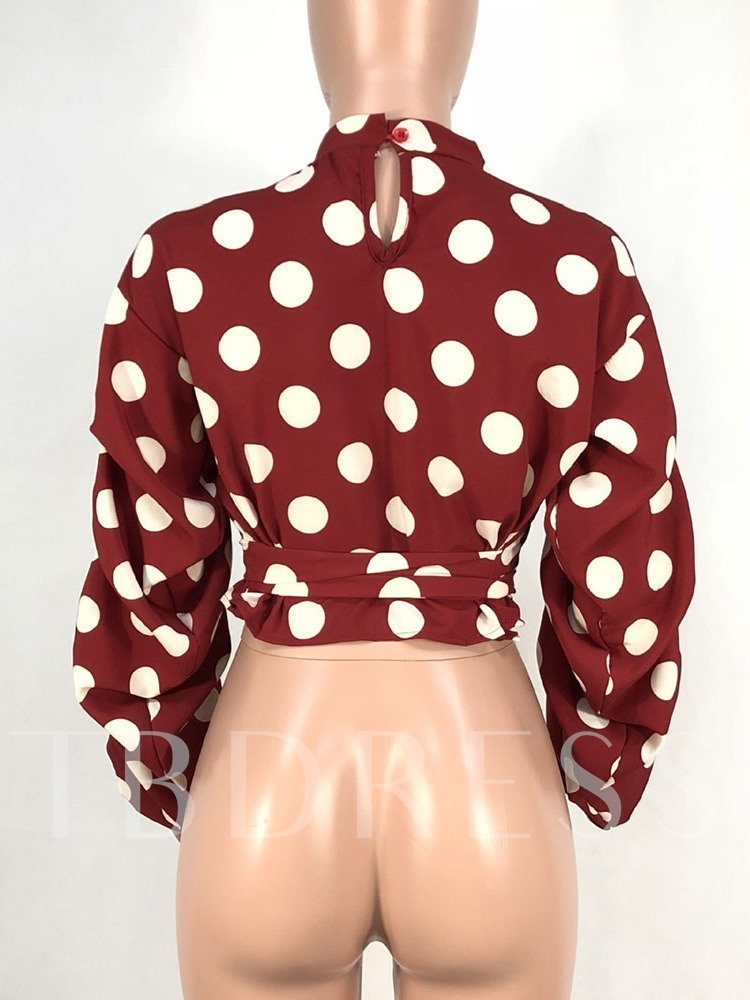 Polka Dots Lantern Sleeve Print Short Women's Blouse