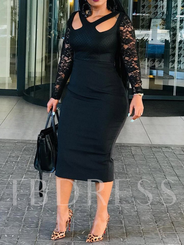 V-Neck Long Sleeve Lace Mid-Calf Bodycon Women's Lace Dress