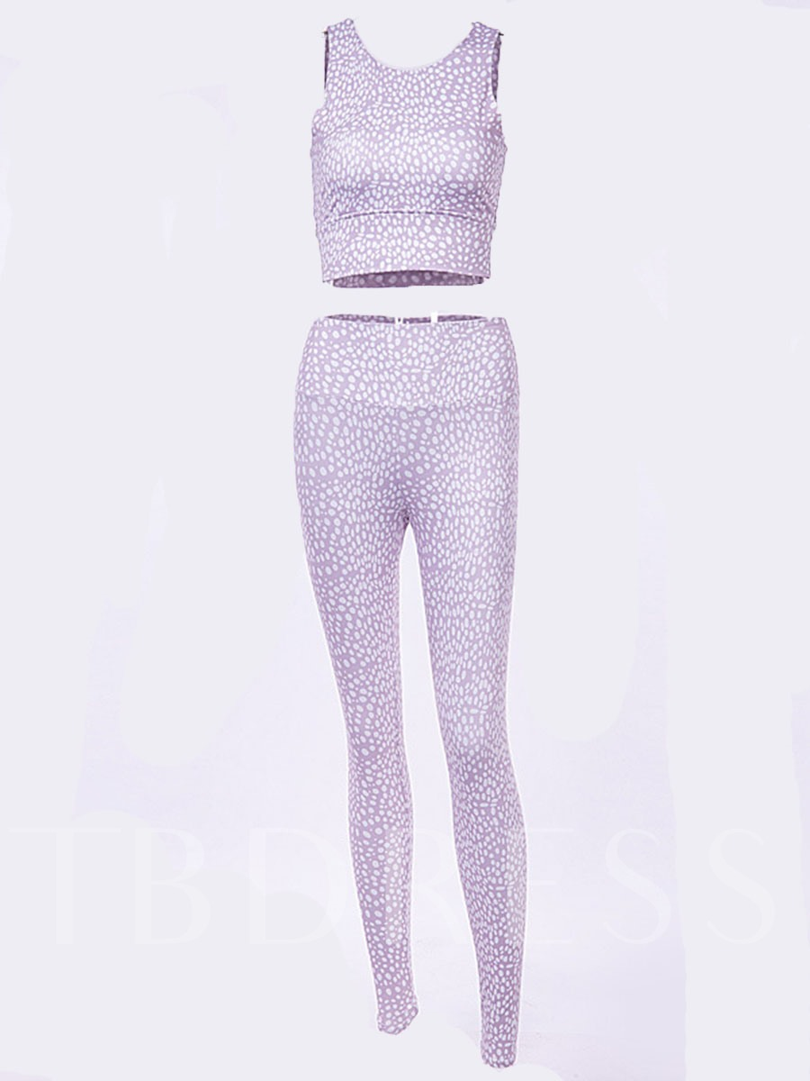 Polka Dots Print Pullover Women's Workout Set