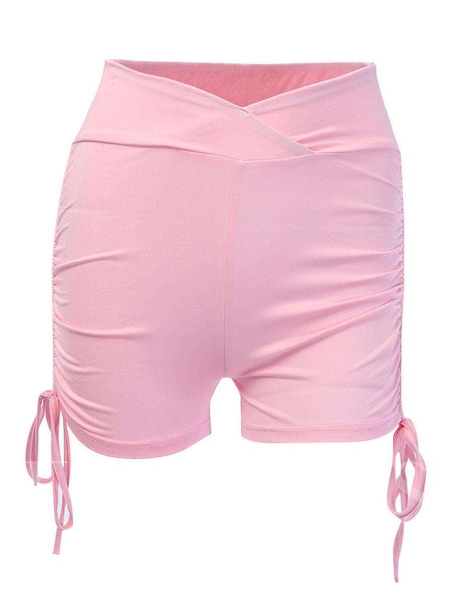 Pleated Lace-Up Breathable Women's Sports Shorts