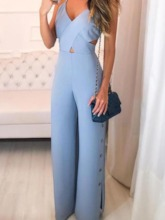 Full Length Strap Plain Straight Women's Jumpsuit