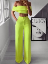 Patchwork Pants Sexy Plain Straight Women's Two Piece Sets