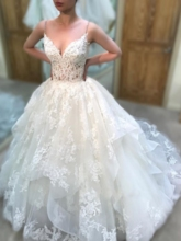 Beaded Spaghetti Straps Tiered Lace Wedding Dress 2019