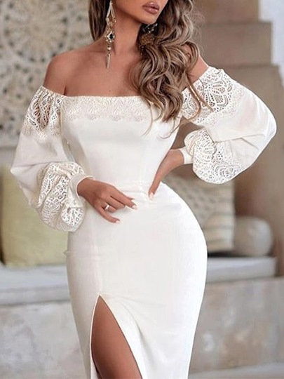Off Shoulder Long Sleeve Hollow Womens Bodycon Dress Off Shoulder Long Sleeve Hollow Women's Bodycon Dress