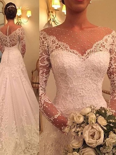 Beading Bateau Neck Appliques Long Sleeves Wedding Dress Beading Bateau Neck Appliques Long Sleeves Wedding Dress