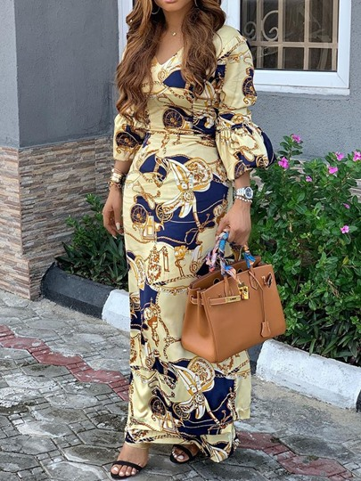 Three-Quarter Sleeve Ankle-Length V-Neck Print Womens Maxi Dress Three-Quarter Sleeve Ankle-Length V-Neck Print Women's Maxi Dress