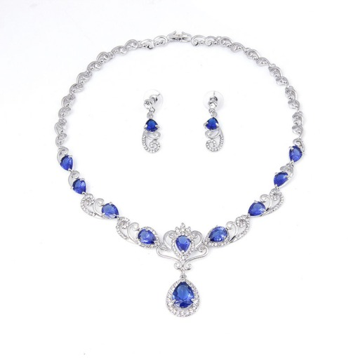 Water Drop Shape Diamante Earrings Necklace Jewelry Sets
