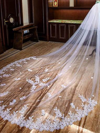 Sequins Appliques Cathedral Wedding Veil