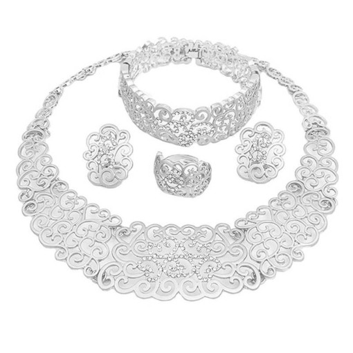 Hollow Out Ethnic Style Wedding 4 Piece Jewelry Sets