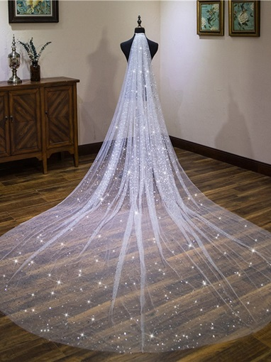 Star Sequins Tulle Cathedral Wedding Veil