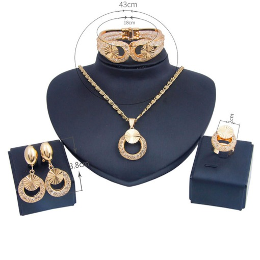 Vintage Nigerian Gold-Color Alloy 4 Piece Jewelry Sets