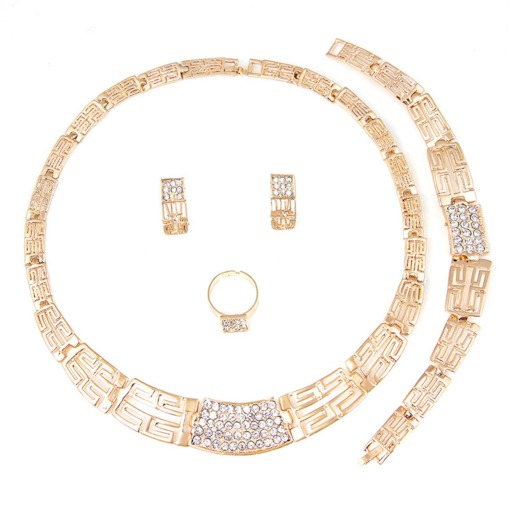 Gold Color African Ethnic Pattern Carving Jewelry Set