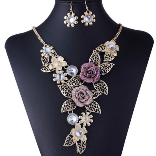 Hollow Out Floral Earrings Necklace Party Jewelry Sets