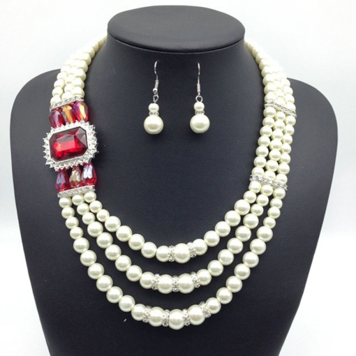 Elegant Pearl Inlaid Gemstone 2 Piece Jewelry Sets