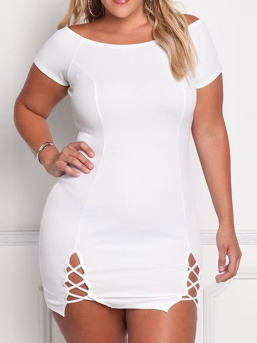 Plus Size Short Sleeve Round Neck Hollow Regular Women's Bodycon Dress