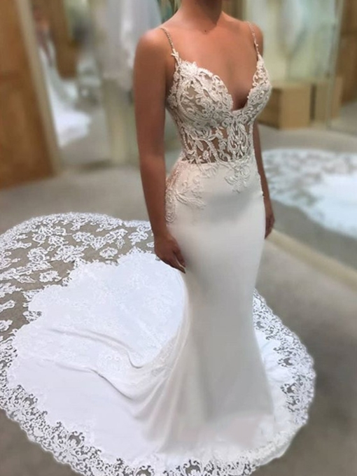 Spaghetti Straps Appliques Beading Mermaid Wedding Dress 2019