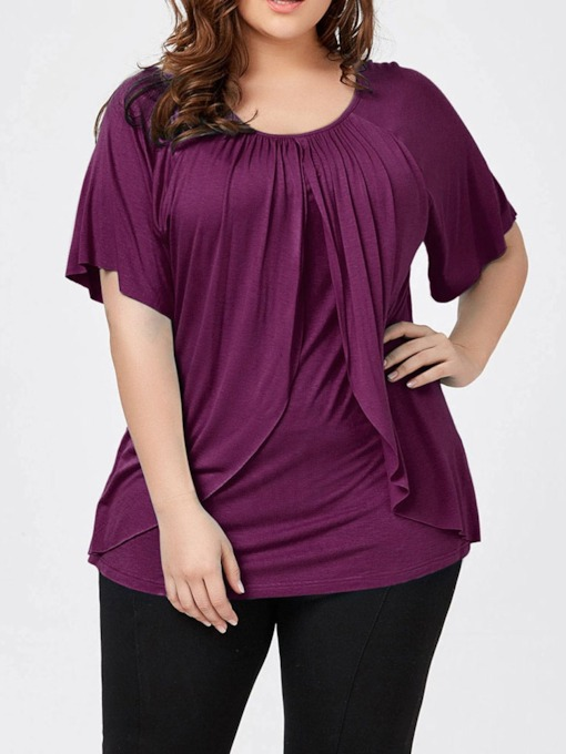 Pleated Plus Size Round Neck Plain Short Sleeve Women's Blouse