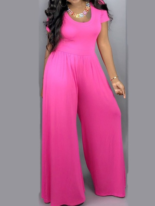 Plain Western Full Length Wide Legs Women's Jumpsuit