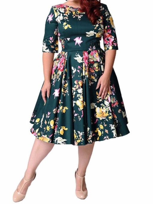Plus Size Round Neck Print Half Sleeve Sweet Women's Day Dress