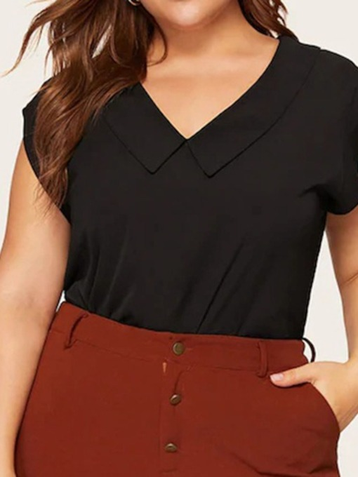 Patchwork Plus Size V-Neck Plain Sleeveless Women's Blouse