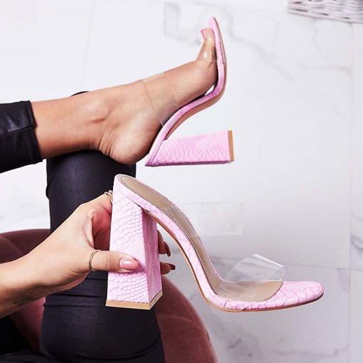 Serpentine Chunky Heel Slip-On Pink Sandals