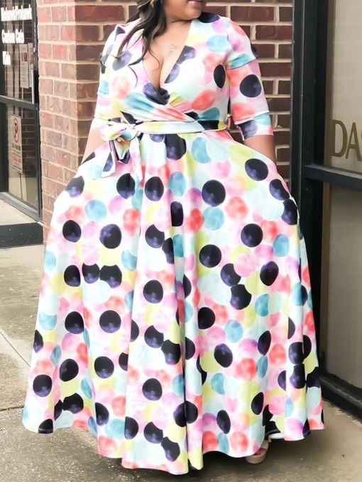 Plus Size V-Neck Print Half Sleeve Expansion Women's Maxi Dress