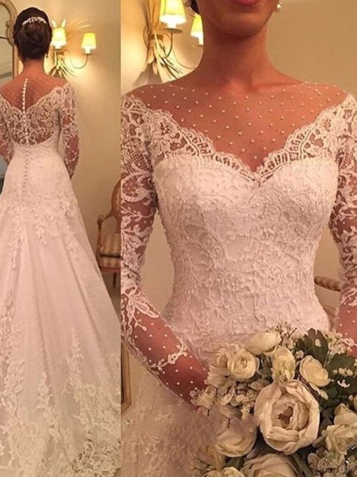 Beading Bateau Neck Appliques Long Sleeves Wedding Dress 2019