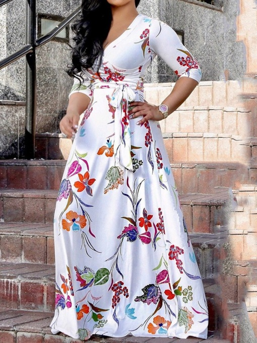 Floral V-Neck Three-Quarter Sleeve Print Floral Women's Maxi Dress