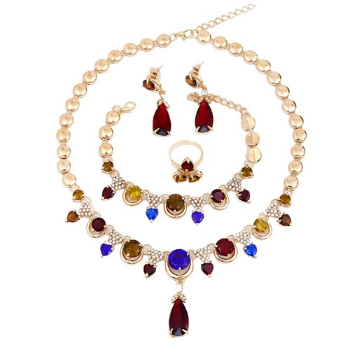 Colored Gemstone Inlaid 4 Piece Jewelry Sets