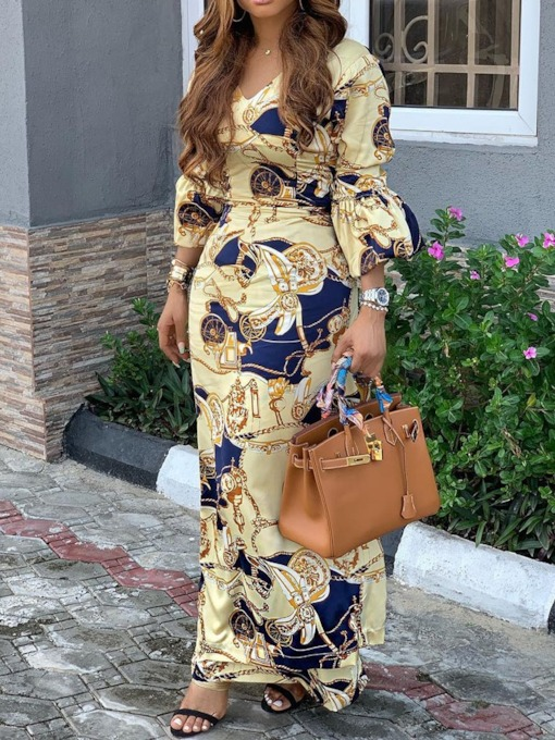Three-Quarter Sleeve Ankle-Length V-Neck Print Women's Maxi Dress