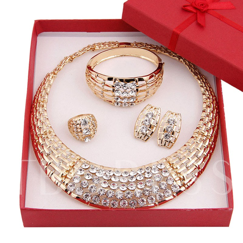 Vintage Rhinestone Bridal 4 Piece Jewelry Sets