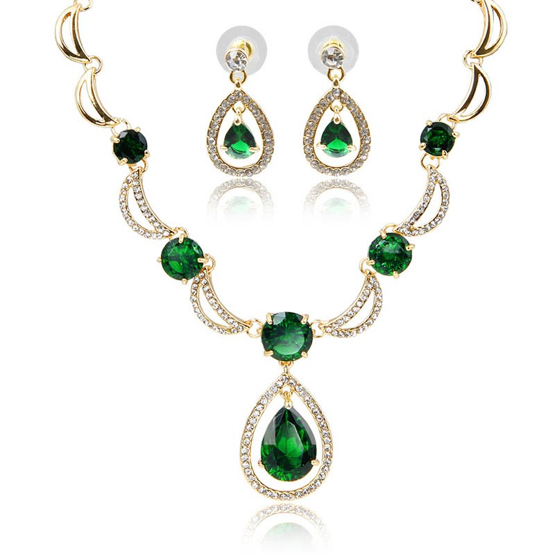 Vintage Gem Inlaid Earrings Necklace Jewelry Sets