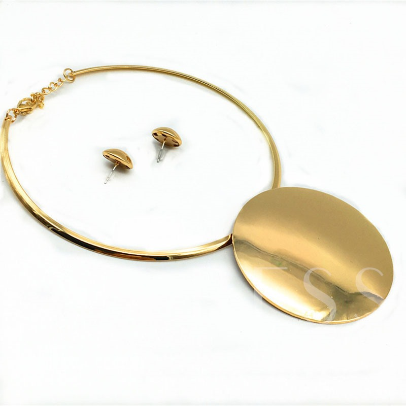 African Gold-Color Alloy Earrings Necklace Jewelry Sets