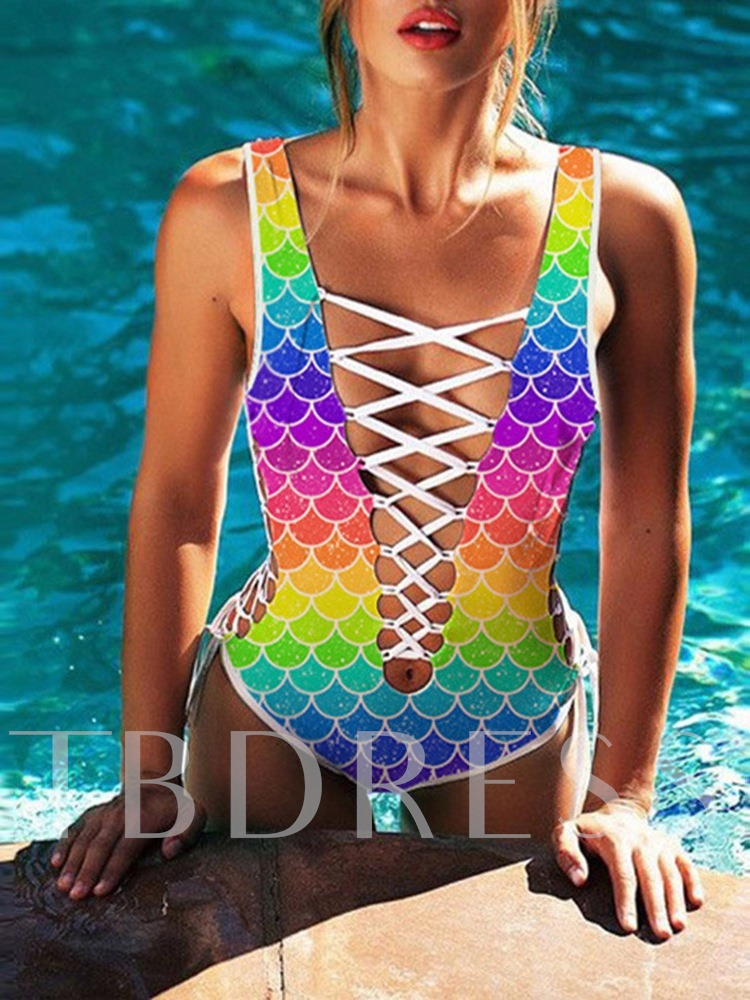 One Piece Lace-Up Color Block Sexy Women's Swimwear