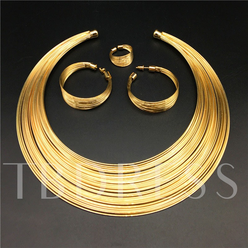 Nigerian Golden Multi-Layer 4 Piece Bangle Jewelry Sets
