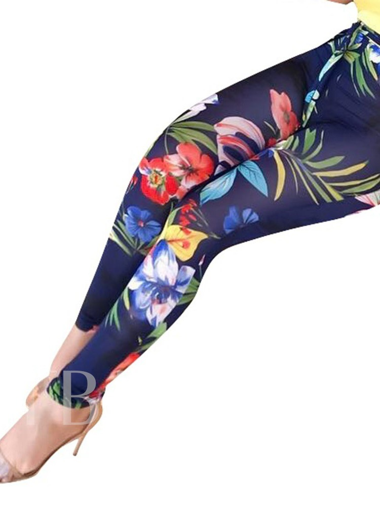 Print Floral Skinny Ankle Length Women's Casual Pants