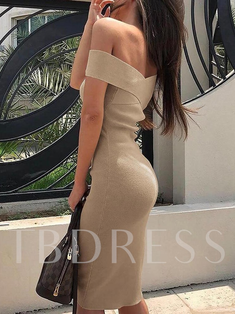 Patchwork Short Sleeve Off Shoulder Women's Bodycon Dress