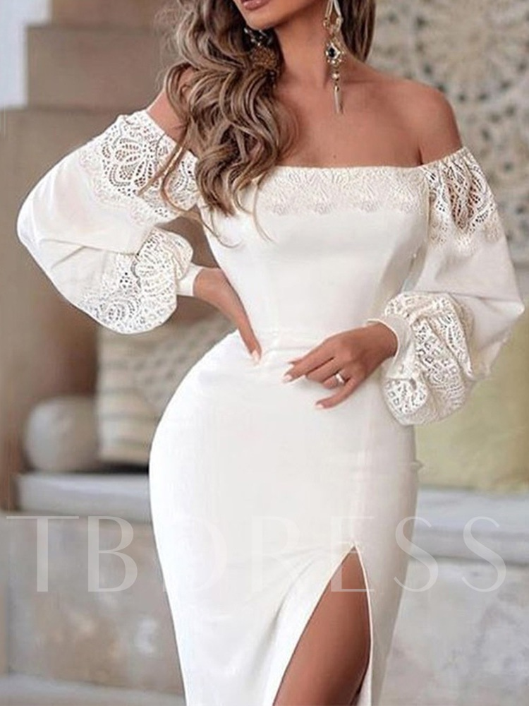 Off Shoulder Long Sleeve Hollow Women's Bodycon Dress