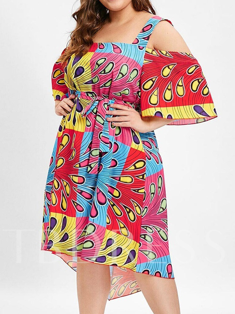Plus Size Half Sleeve Asymmetric Mid-Calf Geometric Women's Day Dress