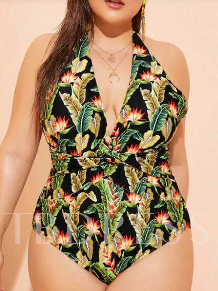 Plus Size One Piece Sexy Floral Print Women's Swimwear