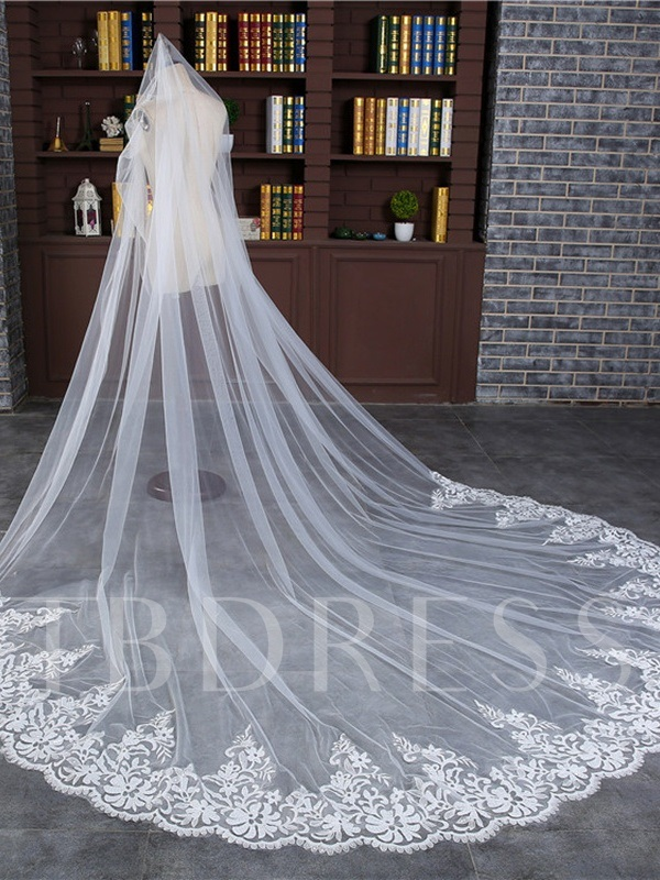 Lace Edge Appliques Cathedral Wedding Veil 2019