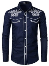 White/Black/Blue Color European Lapel Color Block Embroidery Single-Breasted Men's Shirt
