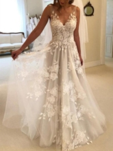 Sleeveless V-Neck Appliques Beach Country Boho Wedding Dress